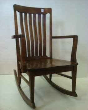 Slat Back Oak Rocking Chair: