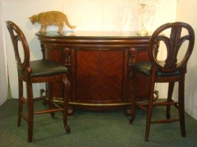 Granite Top Mahogany Finish Bar, 2 Bar Stools: