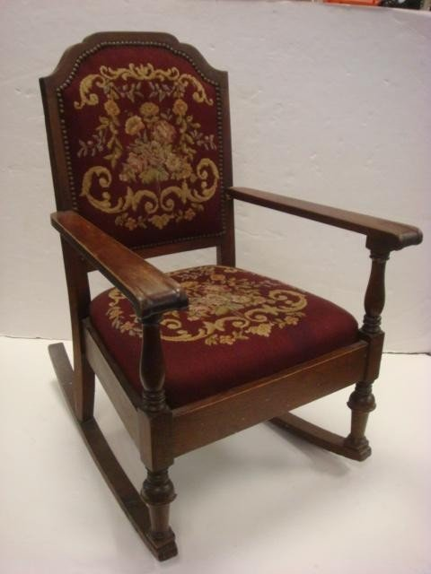 127: Needlepoint Upholstered Rocking Chair: