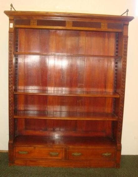 129: Mahogany Two Drawer Three Tiered Bookcase: