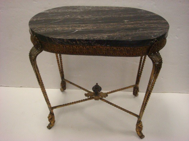 137: Antique Metal Base Marble Top Side Table: