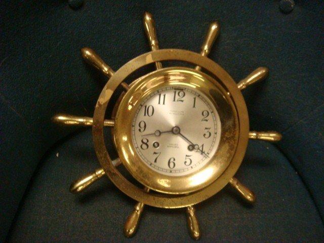 143: CHELSEA Brass Ships Bell Ship Wheel Clock:
