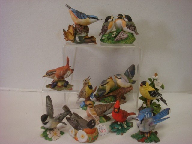 181: Handpainted Retired FRANKLIN MINT Porcelain Birds: