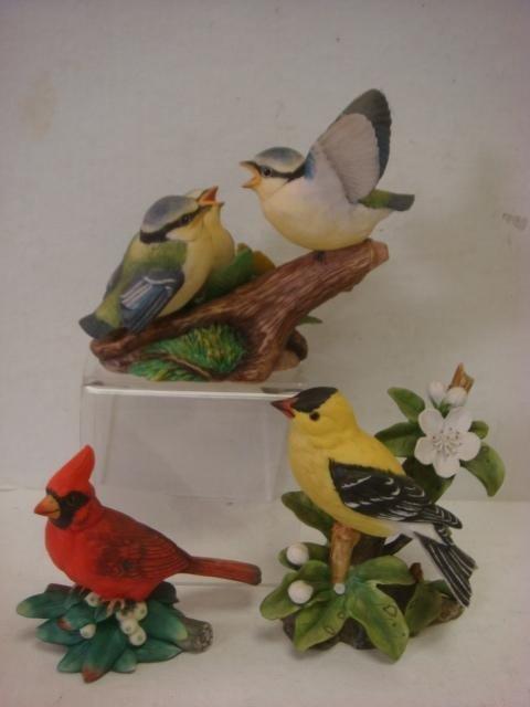 181: Handpainted Retired FRANKLIN MINT Porcelain Birds: - 5