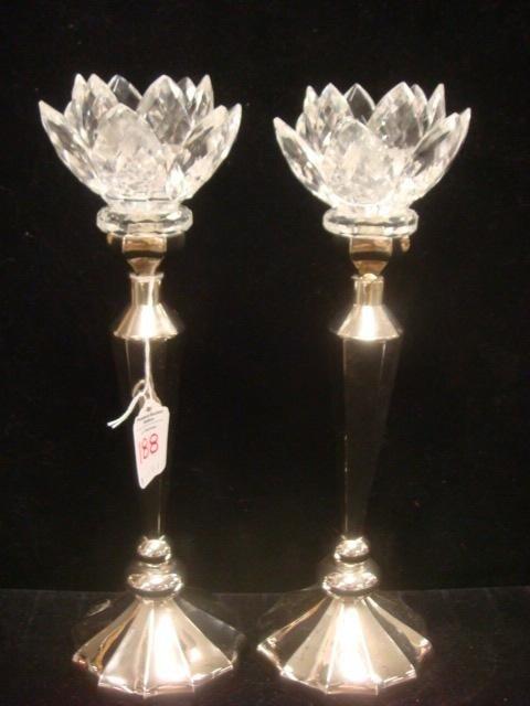 188: GODINGER SILVER ART CO. Plate/Crystal Candlesticks