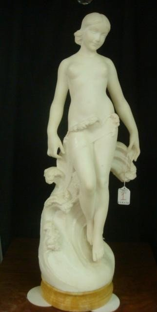 1: Alabaster Nude APHRODITE, Sea Maiden on Marble Plint