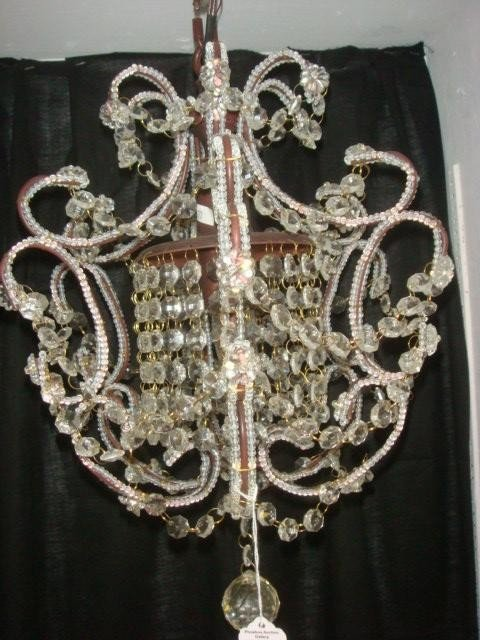 2: Small Glass Bead and Metal Chandelier: