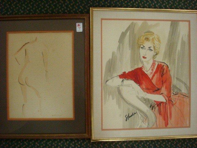 4: Two Vintage Framed Watercolors, Portrait & Line Nude