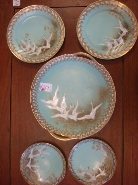 5: Five Piece NIPPON Swan Motif Hand Painted Cake Set: