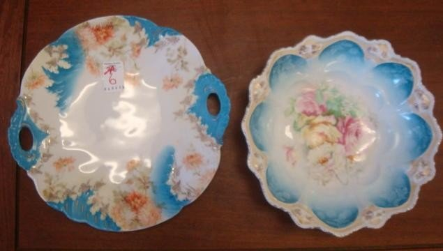 6: WEIMAR German Hand Painted Cake Plate and Bowl: