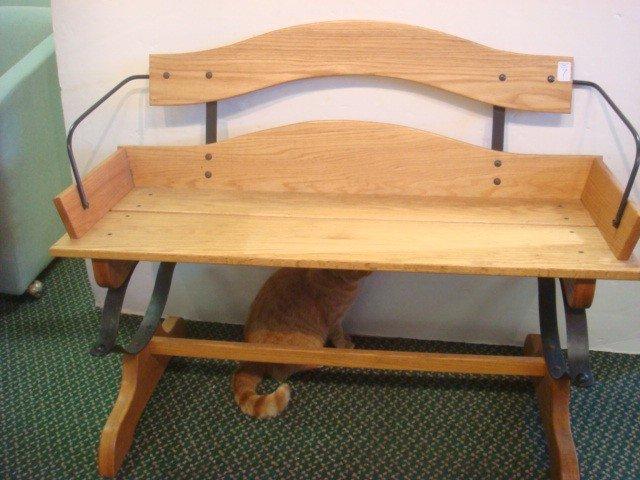 7: Oak Buggy Bench on Wrought Iron Frame:
