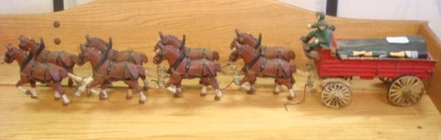 8: Cast Iron Budweiser Toy Wagon with 8 Horse Team: