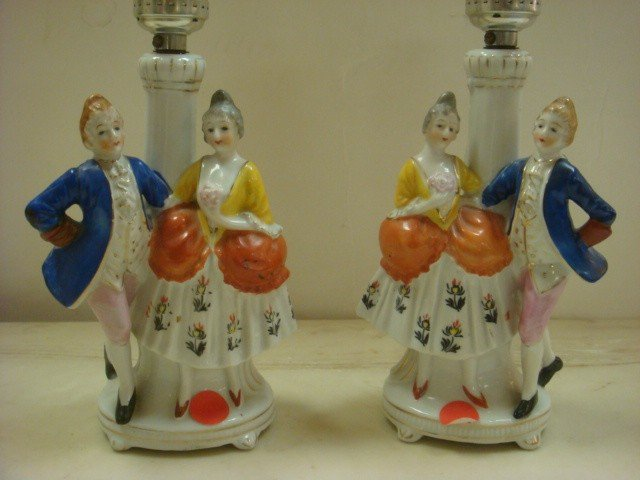 10: Pair of Occupied Japan Figural Couple Table Lamps: