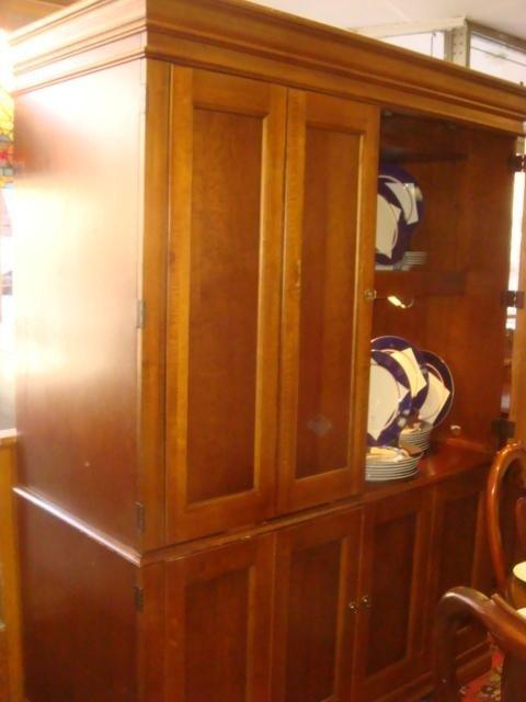 14: Cherry Two Piece Paneled Door Media Cabinet: