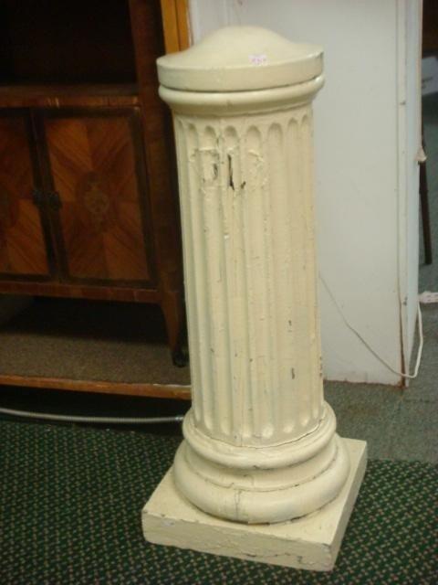 15: Cream Fluted Stem Architectural Pedestal: