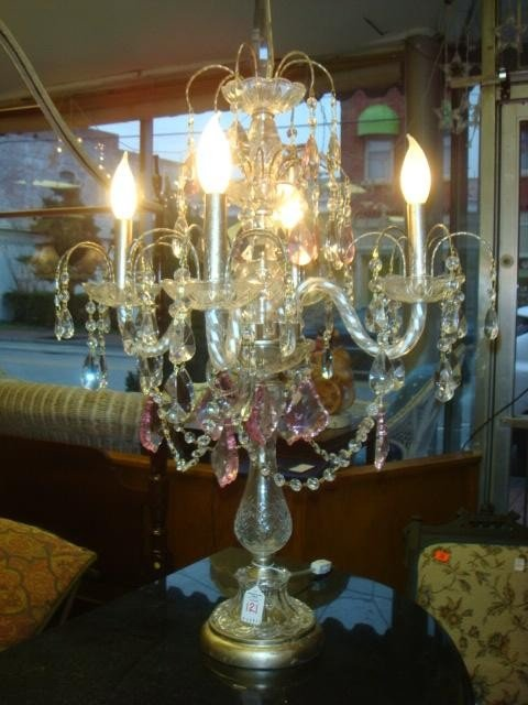 17: Four Arm Glass Prism Table Chandelier: