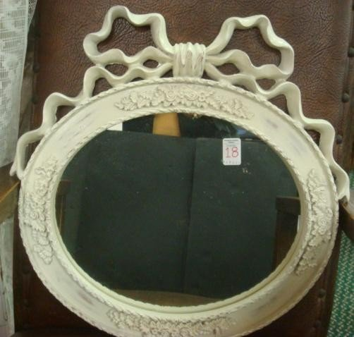 18: White Carved Bow Top Framed Wall Mirror: