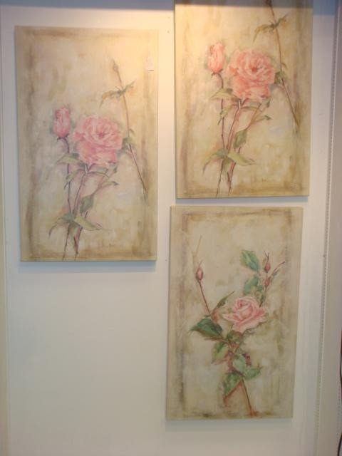 20: Three Rose Floral Prints on Stretched Canvas: