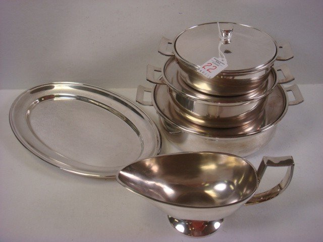 22: Three SOLA Cooking Pans, Tray and Gravy Boat: