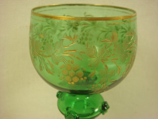 28: Fine Pair of MOSER Decorated Green Glass Goblets: - 2