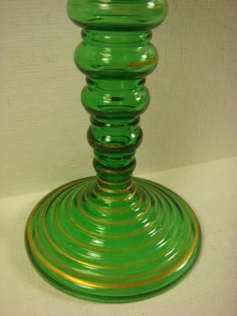 28: Fine Pair of MOSER Decorated Green Glass Goblets: - 3