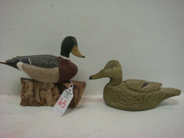 165: Two Signed Handcarved Wooden Mallard Ducks: