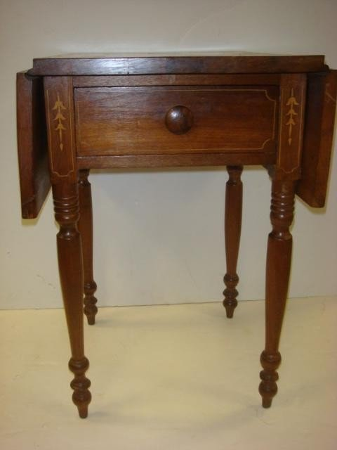 176: 1920's Inlaid Drop Leaf Side Table: