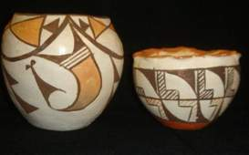 185 ACOMA Pueblo NM Indian Hand Painted Clay Vessels