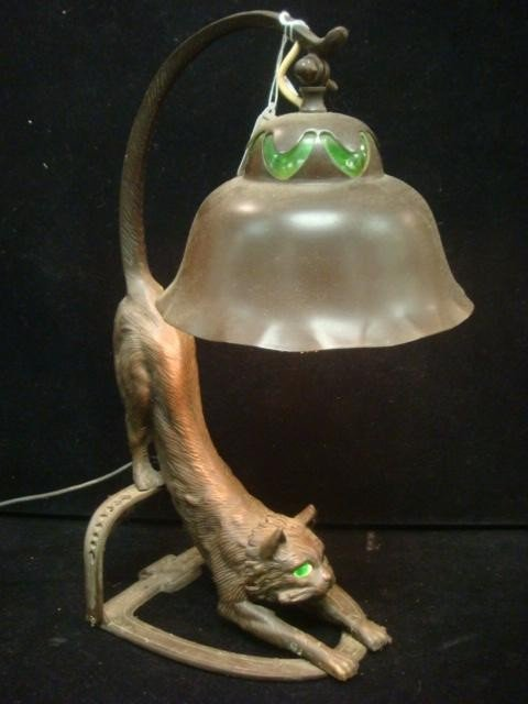 236: Bronzed Finish Long Tailed Cat Table Lamp: