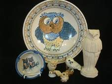 251 Owl Motif Bowl Ashtray and Figurines