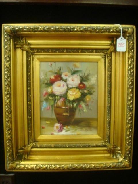285: Signed Oil on Canvas Still Life in Ornate Gold Fra