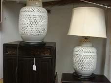 336A Pair of SEYEI CHINA Japan Pierced Ceramic Lamps
