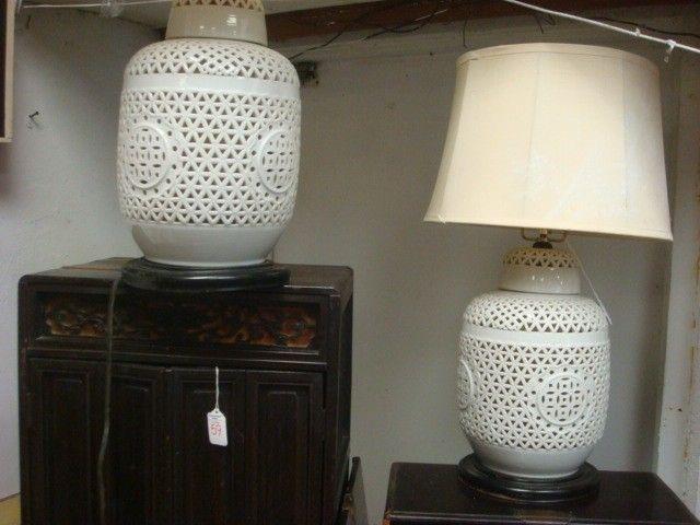 336A: Pair of SEYEI CHINA Japan Pierced Ceramic Lamps: