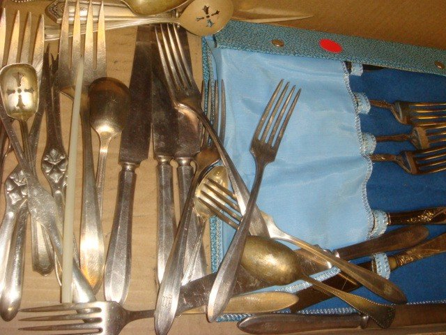 372: Assorted Silver-plate Flatware, 4 Sterling Spoons:
