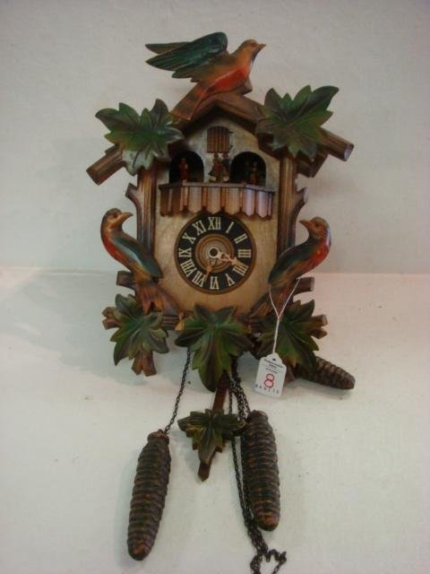 8: Weight Driven Hand Painted Cuckoo Clock: