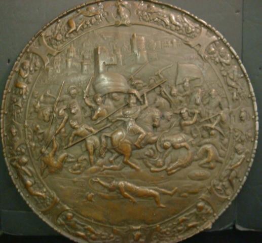 10: Vintage Bronzed Metal Relief Scenic Shield: