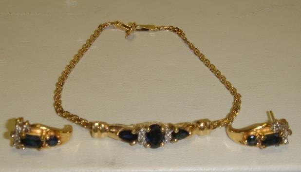 12: 10K Sapphire and Diamond Bracelet and Earrings: