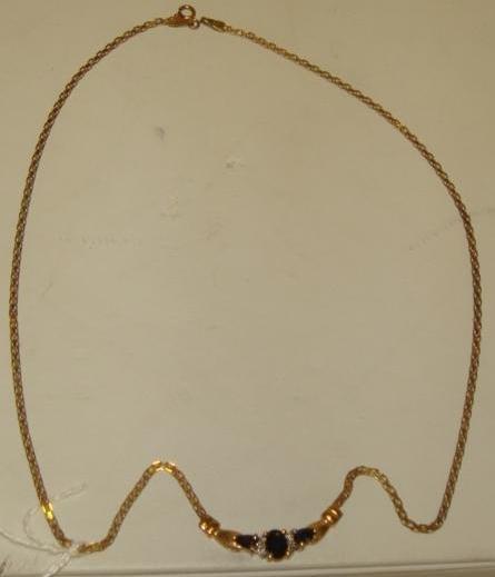 13: 10K Sapphire and Diamond Necklace: