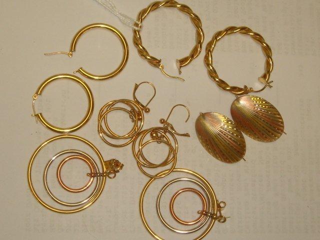 15: Five Pairs of 14K Pierced Hoop and Hook Earrings: