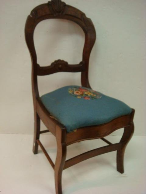 17: Balloon Back Carved Crest Walnut Side Chair: