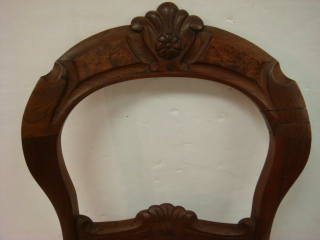 17: Balloon Back Carved Crest Walnut Side Chair: - 2