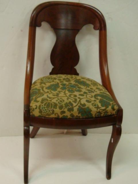18: Vase Splat Mahogany Upholstered Side Chair: