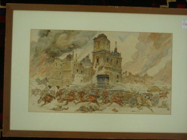 20: Watercolor, World War II German War Art, Unsigned: