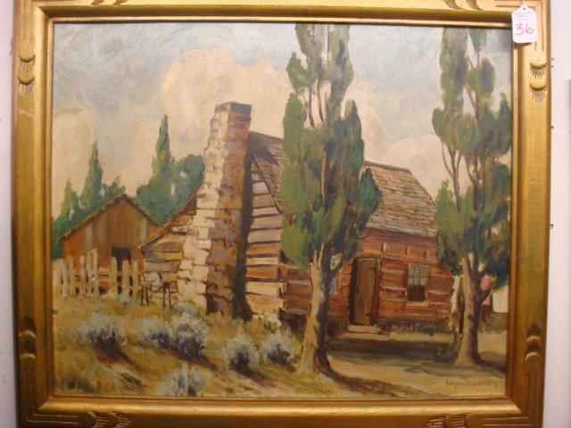 36: Signed EDGAR JENSEN Oil of Log Cabin: