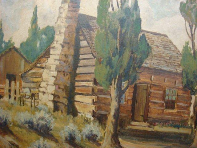 36: Signed EDGAR JENSEN Oil of Log Cabin: - 2