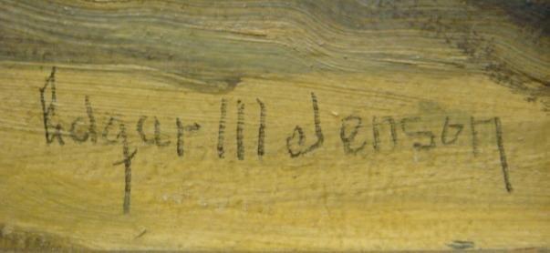 36: Signed EDGAR JENSEN Oil of Log Cabin: - 3