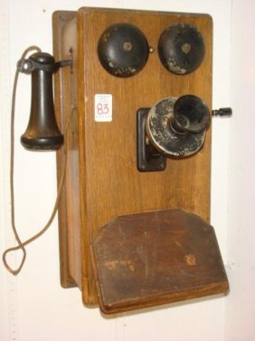 Vintage Wall Telephone With Bakelite Ear Piece: