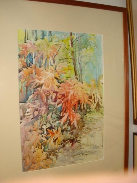 90: Signed BETTY ANGLIN Fall Leaves Watercolor: