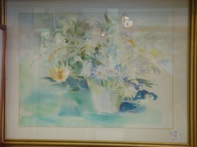 91: Signed BETTY ANGLIN Floral Still Life Watercolor:
