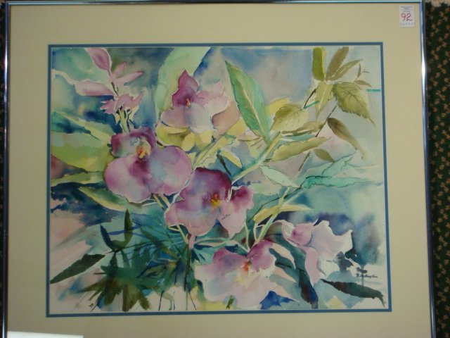 92: Signed BETTY ANGLIN Floral Purple Orchid Watercolor